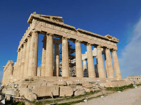 View of the Parthenon, the ancient temple of goddess Athena, in Athens, Greece