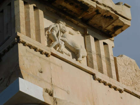 Sculptures on the upper part of the Parthenon, the ancient temple of goddess Athena, in Athens, Greece