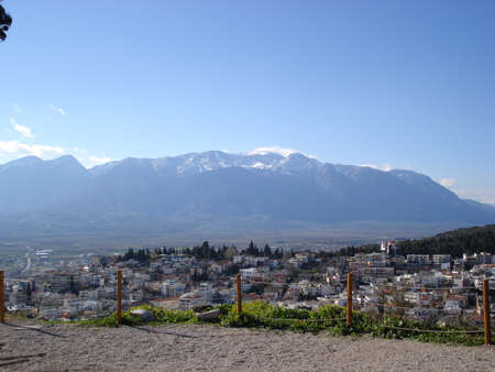 Panoramic view of the city of Lamia, and mount Tymfristos, in Central Greece