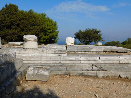 Ruins of the ancient temple of Nemesis, in Rhamnous, Attica, Greece Imagens