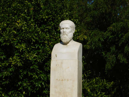 October 2018, Athens, Greece.The ancient site of Plato's Academy.Modern statue of the philosopher Plato. The inscription in Greek means Plato (Platon) Editorial