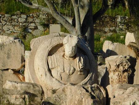 April 2018, Eleusis or Elefsina, Greece. A Roman Emperor contemplating time and decay