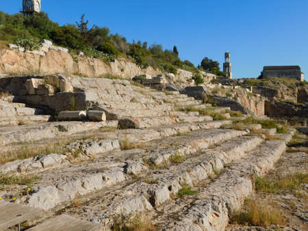 April 2018, Eleusis or Elefsina, Greece, View of the carved seats of the ancient ceremony building, the Telesterion Imagens