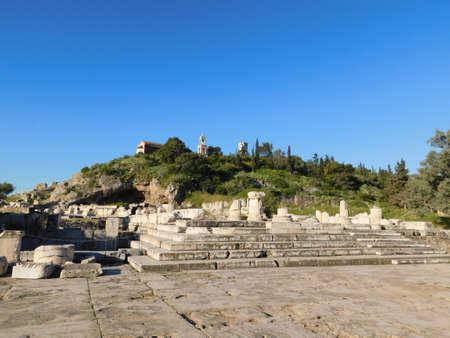 April 2018, Eleusis or Elefsina, Greece, A general view of the archaeological site and the entrance to the ancient ruins