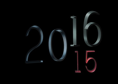 turns of the year: 2016 changes in 2015, 3d on a black background. Change is inevitable in the new year Editorial