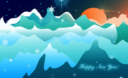 winter scenery: Winter Landscape. Postcard mountain waves, the sun and stars snowflakes. Happy New Year.