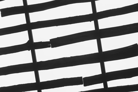 lath in modern: Abstract background, board texture bottom view of the sky, black and white photo