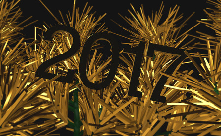 2017 New Year, Creative Image, Gold Christmas tree graphic. Excellent desktop or unfolding for the magazine. Stock Photo