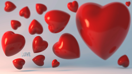 hot couple: A lot of 3d hearts on a black background and the words love, to declarations of love and Valentines Day.