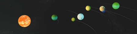 discovered: Panorama newly discovered exoplanets in TRAPPIST-1 system. The creative idea of the seven planets, and the new sun. Stock Photo