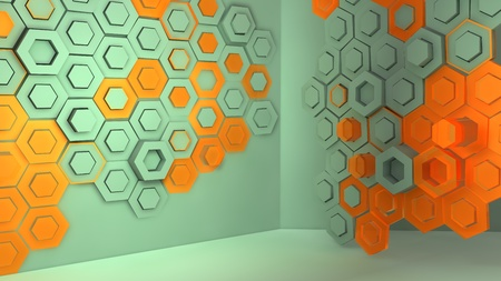 Creative background tiles made of rhombuses, cybernetics modern as on a wall in a room