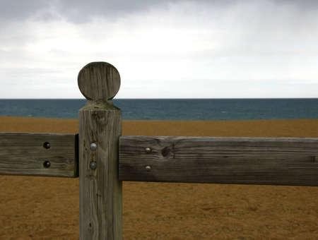 balustrade: Woods balustrade in seashore