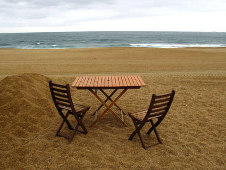 forniture: Wood�s forniture on the beach
