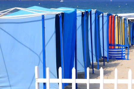 awnings: Beach awnings on a line Stock Photo