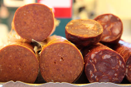 Spicy sausage in a french market