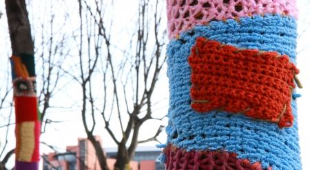 enveloping: Orange knit enveloping a tree Stock Photo