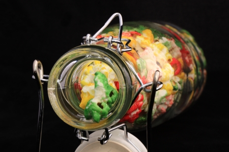 nack: Colored popcorns in a bottle Stock Photo