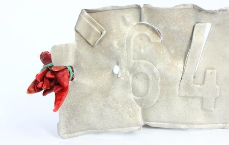 plaque immatriculation: Cayenne et la plaque d'immatriculation ancienne Banque d'images