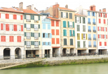 Colors facade in Bayonne-France Stock Photo