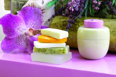relaxant: Still life in radiant orchid Stock Photo