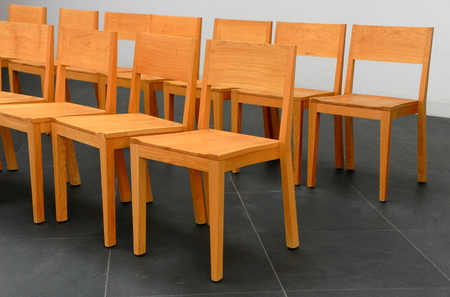 Chairs in row Stock Photo