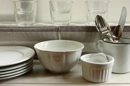 faience: White cuisine Stock Photo