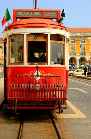 tramcar: LISBON,PORTUGAL-APRIL 12, 2014  Typical tram circulate around the center of Lisbon on April 12, 2014 in Portugal