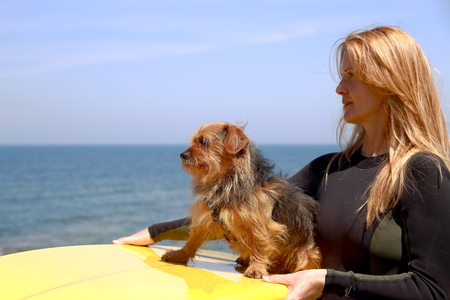 basque woman: Surfer woman and dog-France