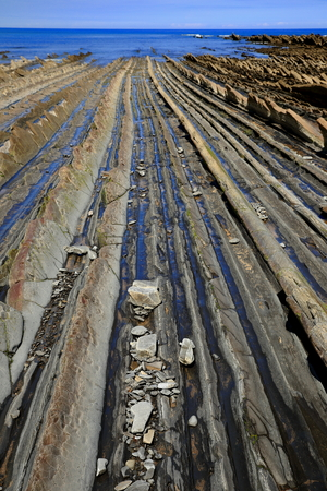 low tide: Low tide on the flysch-Zumaia Stock Photo