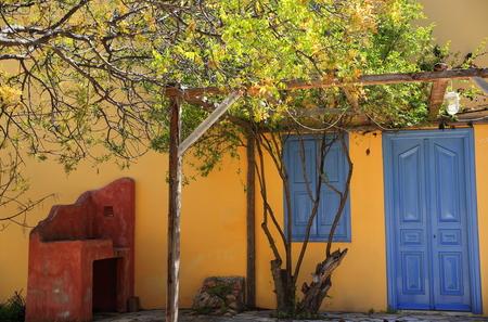 yellow house: Kastellorizo yellow house Stock Photo