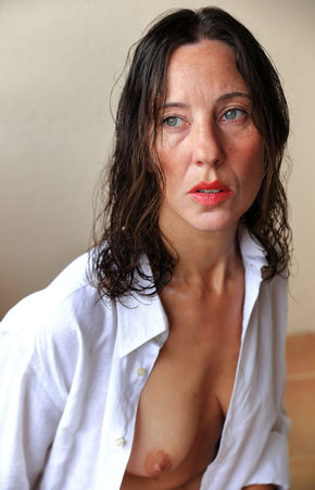 wet breast: woman in shirt Stock Photo