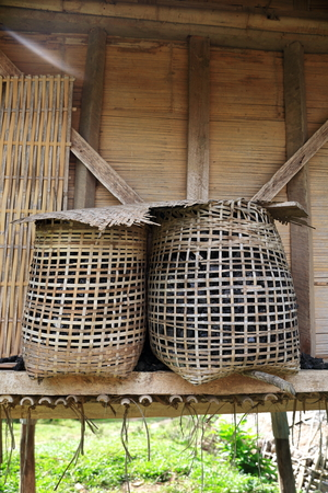 baskets in a cabin-laos