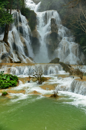 si: kuang si falls-luang prabang Stock Photo