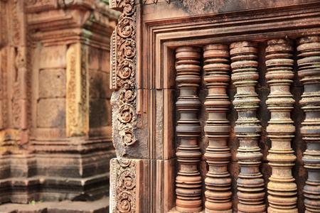 reliefs-banteay srei-angkor Stock Photo