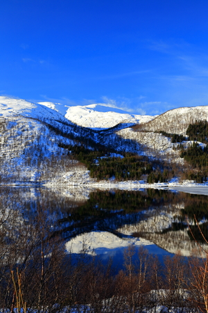Lake and blue sky in norway Stock Photo