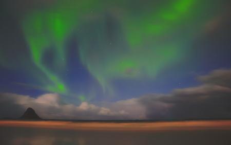 Awesome aurora landscape in bleik,norway