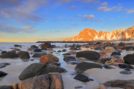 bleik beach landscape in lofoten