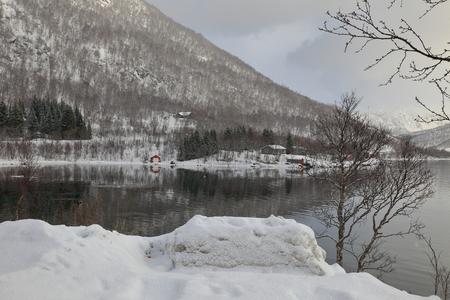ice landscape-lofoten-norway Stock Photo