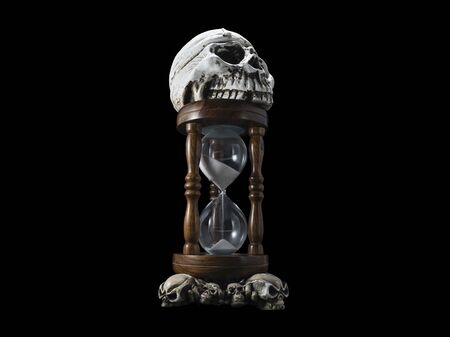 Skull on an hourglass on a black background symbolizing the transience of life, still life
