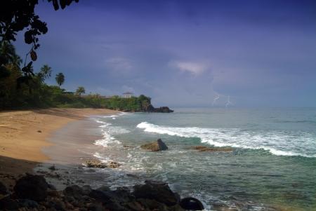 A summer storm over a tropical beach