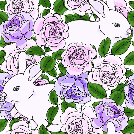 Seamless pattern with pastel purple roses and white bunny. Spring summer pastel purple rose flowers and rabbit background. Vector hand drawn illustrate design with transparent background. Vettoriali