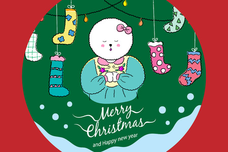 Christmas greeting card or invitation design. Vector illustration with cute Bichon frise dog in Christmas concept design.