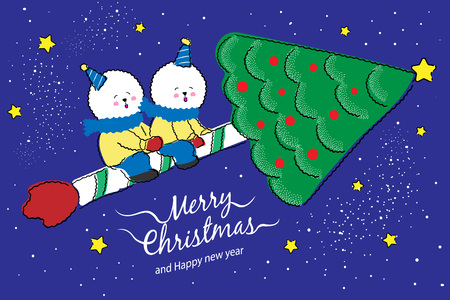 Christmas greeting card or invitation design. Vector illustration with a couple of Bichon frise dogs in Christmas concept design.