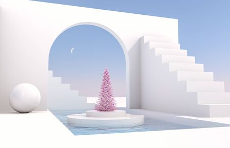 Scene with geometrical forms, arch with a podium in natural day light. minimal landscape with Christmas tree background. 3D render background.