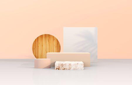 Telón de fondo de podio de belleza natural con forma geométrica para exhibición de productos cosméticos. Fondo abstracto de la composición 3d. Foto de archivo