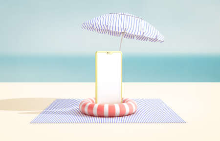 Natural summer beach backdrop with smart phone mock up. sea view. Online shopping concept. 免版税图像