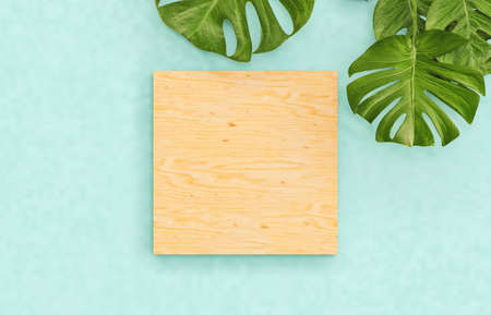 Natural Empty wooden box on summer vivid color background with tropical palm leaves. for cosmetic product display. Flat lay. Top view. 3d render. 免版税图像