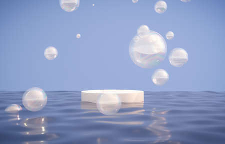 Natural beauty podium backdrop with bubbles for cosmetic product display. Abstract 3d seascape scene background.