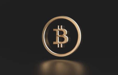 Golden bitcoin digital currency. futuristic digital money 3d icon.
