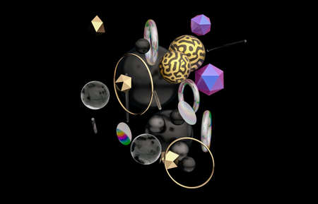 Abstract 3d art background with geometric shape floating on black background.
